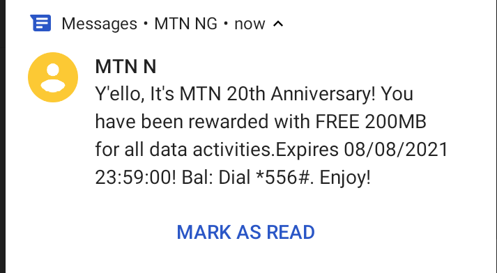 MTN Free Data 200MB